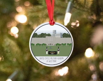 USMA West Point Ornament, Customizable Class Graduation Year and Motto, Collectible Military Base Christmas Ornament, Army Officer Gift