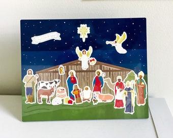 Nativity Sticker Advent Calendar, Kids Religious Christmas Activity, Christmas Countdown, Canvas Advent Calendar, Nativity Sticker Pack