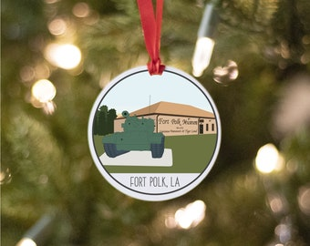 Fort Polk Army Base Ornament, Louisiana Army Base Drawing, Collectible Duty Station Ornament, PCS Gift, 2021 Army Christmas Ornament