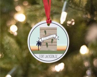 Fort Jackson Army Base Ornament, South Carolina Army Base Drawing, Collectible Duty Station Ornament, PCS Gift, Army Base Christmas Ornament