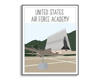 US Air Force Academy Illustration, USAFA Commemorative Art Print, Air Force Acadamy Duty Station Sign, USAFA Graduation Gift