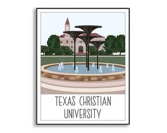 Texas Christian University Illustration, TCU Portrait, Frog Fountain Drawing, TCU Fort Worth University Art Print