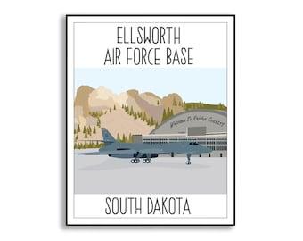 Ellsworth Air Force Base Art Print, Ellsworth AFB South Dakota Drawing, Air Force Base Artwork, Collectible Duty Station Sign