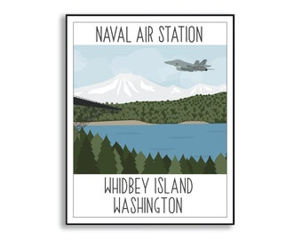 NAS Whidbey Island Illustration, Naval Air Station Portrait, Whidbey Island Washington Duty Base Sign, Collectible Squadron Poster