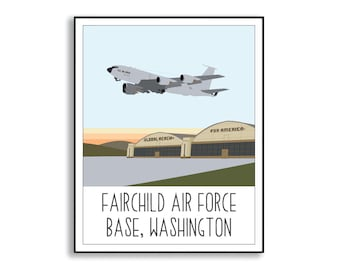 Fairchild Air Force Base Art Print, Fairchild AFB WA Drawing, Air Force Base Artwork, Collectible Duty Station Sign