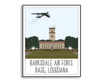 Barksdale Air Force Base Art Print, Barksdale AFB Duty Station Sign, Barksdale AFB Louisiana, Air Force Base Artwork, Military Base Drawing