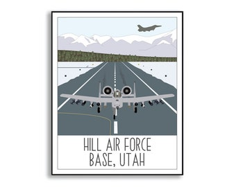 Hill Air Force Base Illustration, Hill AFB Duty Station Artwork, Military Base Art Print, Collectible Duty Station Sign