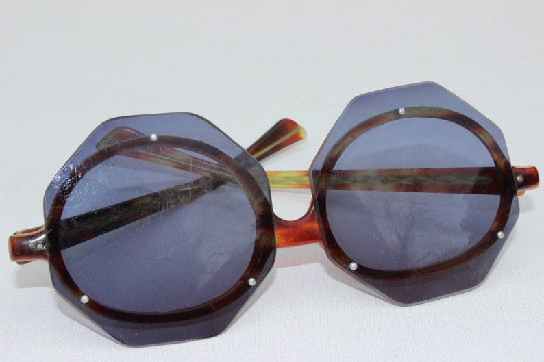 0f3d8656801 Vintage Octagonal Horn Rimmed Sunglasses Jackie O Sunglasses