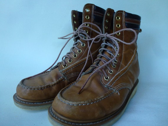 Vintage Work Boots Crepe Sole Leather Brown Leathe
