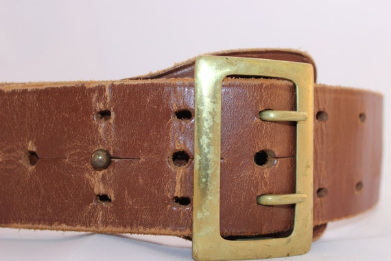 Vintage Mounted Police Belt Brown Leather Antique