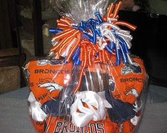 Denver Broncos Baby Gift Basket Blanket ,2 Burp Cloths, 2 Washcloths And Matching Diaper Wipe Container, Doll