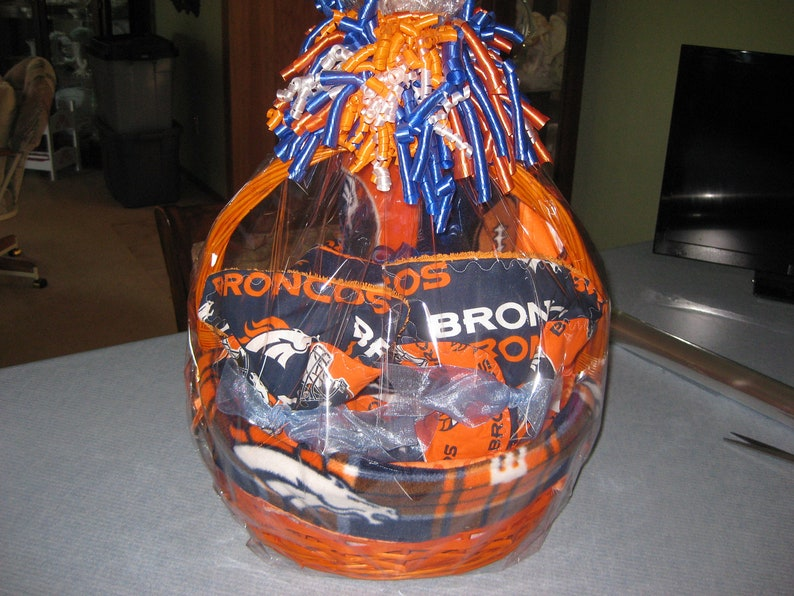 image 0 & Denver Broncos Inspired Baby Gift Basket Blanket Burp Cloths | Etsy