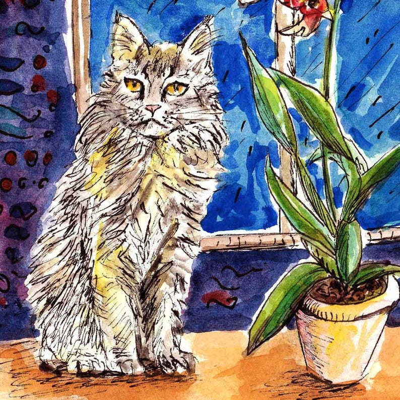 Maine Coon Cat and Exotic Orchid Pot in the Window, Cat Artwork, Maine coon  Art, Original Watercolour, Handpainted, Cat Lover Gift, Cat Home