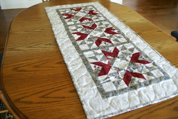 Christmas Table Runner Quilt.Christmas Table Runner Quilted Christmas Table Runner Silver White Red Handmade Hostess Gift Home Decor Quilted Handmade Gift