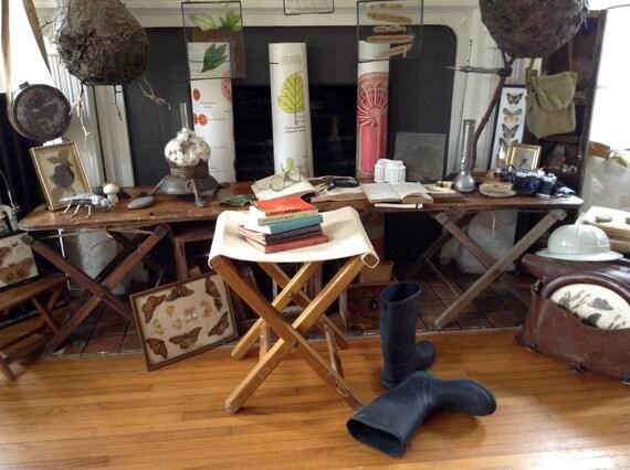 Miraculous Vintage Wood Cloth Folding Camp Stool Evergreenethics Interior Chair Design Evergreenethicsorg