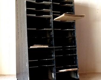 Vintage Industrial Machine Age Metal Table/Desktop Cabinet