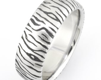 f8a0c22bf31 Titanium Ring with Damasculaze Tiger Pattern