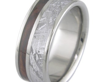 Titanium ring with offset meteorite and wood