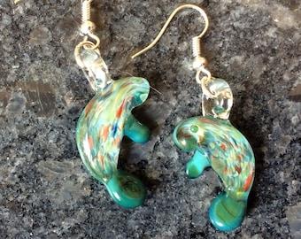 Hand Blown Glass / Manatee Earrings / Aqua Manatee / Glass Earrings / Handmade / USA Made / Glass Manatee / Sea Cow