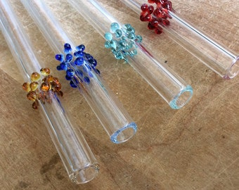 Polka Dots, Drinking Straws, Hand Blown Glass, Mixed Dark Colors, Eco Friendly and Hypoallergenic, Your Choice of Length
