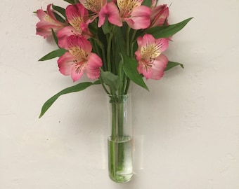 Hand Blown Glass Wall Vase, Ready to Hang on Your Wall, Handmade in Florida