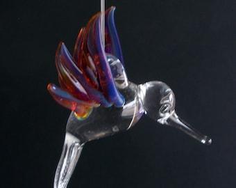 Hand Blown Glass Hummingbird with Amber Purple Wings, Ornament, Suncatcher