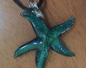 Hand Blown Glass / Green / Dichroic Glass / Starfish / Pendant / Necklace / Focal Bead /  Blue Star / Handmade / Glass