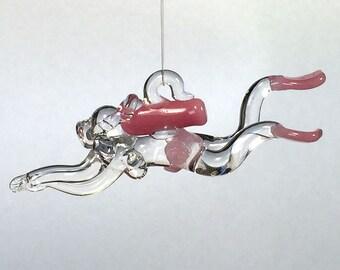Female Glass Scuba Diver, Hand Blown Ornament, Suncatcher, Pink or Choose Your Accent Color