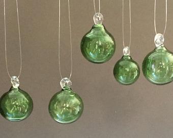 Your Color Choice / Set of Five / Hand Blown Glass / Mini Ornaments / USA Made / Tabletop Tree / Christmas / Glass Ball