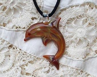 Hand Blown Glass Caramel Dolphin Pendant, Necklace, Focal Bead