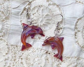 Hand Blown Glass Amber Purple Dolphin Earrings