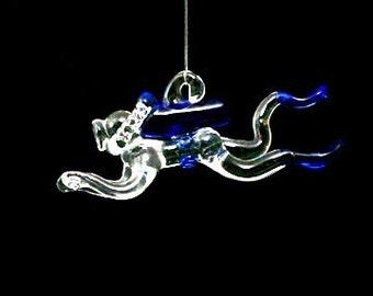 Male or Female Glass Scuba Diver, Hand Blown Ornament, Suncatcher, Choose Your Accent Color