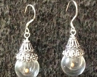 Hand Blown Glass Earrings, Mustard Seed, Faith, Jewelry, Crystal Clear, Confirmation, Communion, Religious Gift, Your Choice of Color