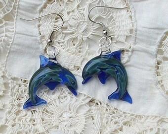 Hand Blown Glass Cobalt Blue Dolphin Earrings