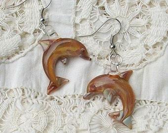 Hand Blown Glass Caramel Dolphin Earrings
