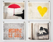 Paris Graffiti Art, Gallery Wall Set, Modern Urban Art, Paris Photography, Colorful Wall Art Prints Home Decor