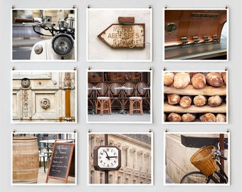 Fine Art Photography Paris Gallery Wall Prints, Brown Paris Photography Collection, Extra Large Wall Art Prints