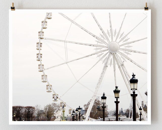 Paris Photography Ferris Wheel Minimalist Wall Art Print   Etsy