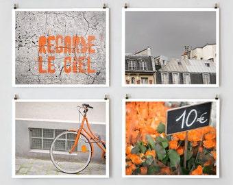 Paris Gallery Wall Art Prints, Orange Paris Print Collection, Paris Photography, Large Wall Art, Orange Wall Decor