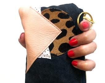 Piece Out Mink- Black Canvas with Pink and Leopard leather Coin - Card Purse