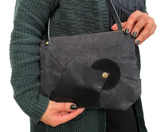 Black Waxed Canvas Crossbody Purse with leather strap- On Sale