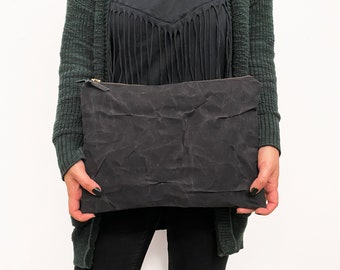 Large Waxed Canvas Purse   Clutch in Black or Rose Gold