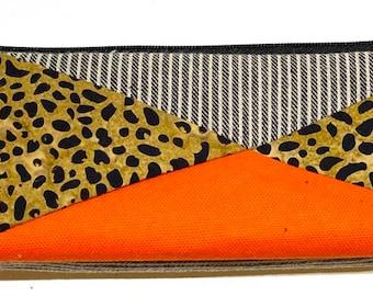 Denim and Leopard Cotton Patchwork Pencil and Makeup case
