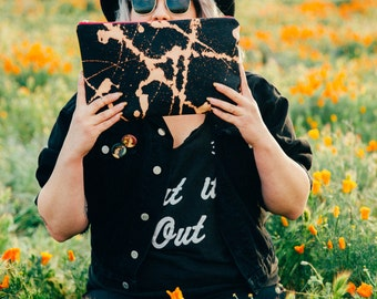 These Paths- Black Splattered Canvas and Yellow Leather Clutch