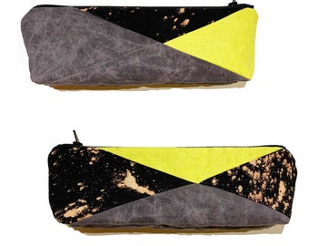 Grey and Yellow Patchwork Pencil and Makeup Case