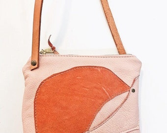 Small Pink Leather Purse with long strap   Crossbody Bag