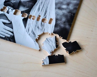Puzzle Wedding Guest Book, 30 Wood Pieces, Use Your Photo