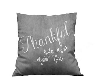 Gray Thankful Throw Pillow