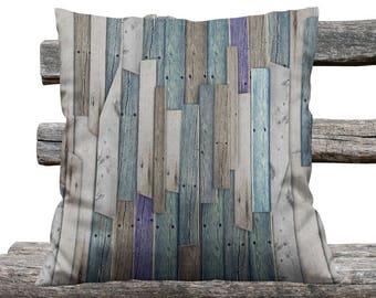 Rustic Faux Wood  Farmhouse Chic Throw Pillow, Decorative Pillows