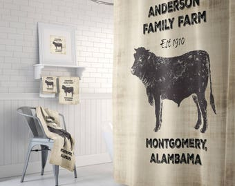 Personalized Farm Shower Curtain Beige Rustic Design With Cow